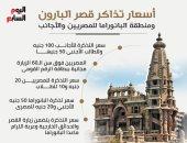 أسعار تذاكر قصر البارون ومنطقة البانوراما للمصريين والأجانب.. إنفوجراف