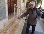 قارئ يشارك بصور لتعقيم جده مسجد ميدان الرصافة بمحرم بك فى الإسكندرية