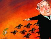 كاريكاتير صحيفة إماراتية.. غربان نتنياهو تطارد حمامة السلام فى فلسطين