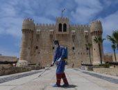 """صور ..""""آثار الإسكندرية"""": تعقيم قلعة قايتباى مرتين يوميا وبحد أقصى 5 رحلات"""
