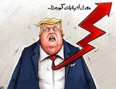كاريكاتير صحيفة إماراتية .. معدل صعود سهم إصابات كورونا فى أمريكا لأعلى نقطة
