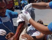 إصابة شخصين فى حادث اصطدام سيارة نقل بمحل بشارع الحجاز بالغردقة.. صور