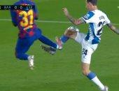"""برشلونة ضد إسبانيول.. طرد أنسو فاتى بعد 5 دقائق من دخوله بديلا """"فيديو"""""""