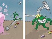 """كاريكاتير صحيفة إماراتية.. هكذا تفعل """"الصابونة"""" فى فيروس كورونا"""