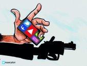 """كاريكاتير صحيفة أردنية.. """"السوشيال ميديا"""" وراء الكثير من أعمال العنف"""