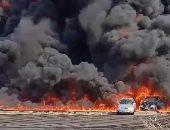 مساعد الوزير للشرطة المتخصصة ينتقل لموقع حريق كسر ماسورة طريق الإسماعيلية