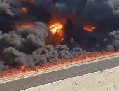 النيابة تنتدب المعمل الجنائى لمعاينة موقع حريق خط بترول الإسماعيلية الصحراوى