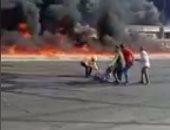 شجاعة المصريين تنقذ أحد المصابين من حريق ماسورة بترول بطريق الإسماعيلية.. صور