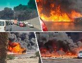 35 سيارة إطفاء تكافح حريق ماسورة مواد بترولية بطريق الإسماعيلية