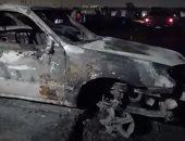 آثار مدمرة لحريق خط أنابيب طريق الإسماعيلية الصحراوي