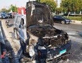 السيطرة على حريق داخل سيارة بمحور صلاح سالم دون إصابات (صور)