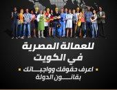 """إنفوجراف .. """"للعمالة المصرية فى الكويت"""" اعرف حقوقك وواجباتك بقانون الدولة"""