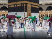 الحجاج يؤدون طواف القدوم بالمسجد الحرام وسط إجراءات احترازية.. صور وفيديو