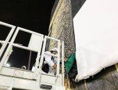 الكعبة تكتسى بالثوب الأغلى فى العالم.. 670 كيلو من الحرير و 120 كيلو ذهب