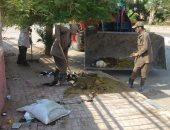 صور.. رفع مخلفات وقمامة فى شوارع شمال مدينة الأقصر فى رابع أيام العيد