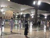 تداول فيديوهات لسقوط أمطار غزيرة على المسجد النبوى فى رابع أيام العيد