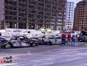 تفحم 7 سيارات فى حريق دائرى المعادى