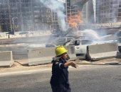 تفحم 7 سيارات فى حريق دائرى المعادى..والحماية المدنية تسيطر على النيران.. صور