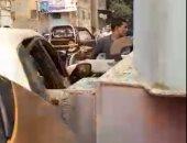تداول لقطات لاصطدام قطار بسيارة ملاكى أثناء عبورها مزلقان الأباجية بالسيدة عائشة.. فيديو