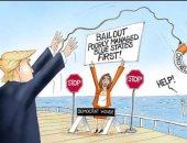 كاريكاتير لترامب الأبن يبرز قتال والده لإنقاذ الشعب الأمريكي رغم عقبات الديمقراطيين