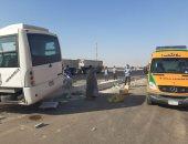 كثافات مرورية إثر حادث تصادم سيارتين نقل بطريق المريوطية بالجيزة