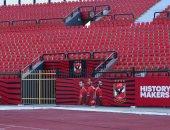 استاد الأهلي يكتسي باللون الأحمر قبل افتتاحه بشكل رسمي.. صور