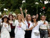 مسيرة نسائية فى بيلاروسيا ضد العنف خلال احتجاجات رفض نتائج انتخابات الرئاسة