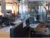 محتجون يضرمون النار بمطعم داخل مبنى جريدة النهار وسط بيروت