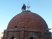 """""""حسن"""" من الشرقية يشارك بصورته أثناء بنائه قبة مسجد"""
