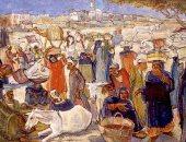 """100 لوحة مصرية .. """"لوحه السوق"""" إبداع الفنان الكبير راغب عياد"""