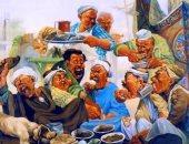 """100 لوحة مصرية.. لوحة """"الوليمة"""" للفنان محسن أبو العزم"""