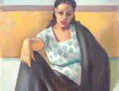 """100 لوحة مصرية.. """"فتاة جالسة على الأرض"""" للفنان محمود سعيد"""