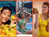 البرتقال والأناناس وجوز الهند أحدث تقاليع التصوير لنجمات الفن.. إيه الحكاية؟