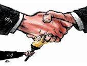 كاريكاتير صحيفة سعودية .. إيران تشعل النيران فى اتفاق العراق والولايات المتحدة