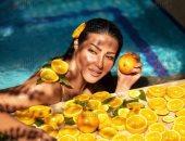 شاهد صور جديدة حصرية من سيشن سمية الخشاب مع البرتقال