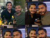 تامر حسنى مع مصطفى حجاج فى الاستوديو خلال مونتاج أغنيته الجديدة.. صور