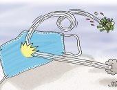 كاريكاتير صحيفة إماراتية .. الكمامة تطرد كورونا وتقضى على الوباء