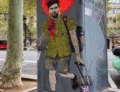"""فنان إيطالى يرسم صورة لـ ميسى على شكل """"جيفارا"""" بساحة كتالونيا"""