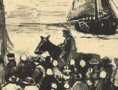 شاهد اسكتش نادر لـ فان جوخ يصور مجموعة من الأشخاص على الشاطئ وقارب صيد