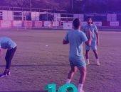 وصلة استعراض بين صالح وقفشة والحاوى فى مران الأهلى..فيديو