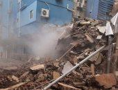 ايقاف مباراة بلدية المحلة والمنصورة الودية بعد انهيار منزل بجوار سور ستاد بلدية المحلة
