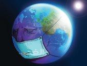كوكب الأرض يرتدى الكمامة خوفا من كورونا في كاريكاتير صحيفة أردنية