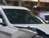 معاينة حادث تصادم سيارة صالح جمعة تكشف اختلال عجلة القيادة بيد اللاعب.. صور