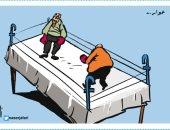 مواقع التواصل الاجتماعى تتحول إلى حلبة مصارعة فى كاريكاتير أردنى