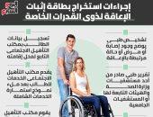 إجراءات استخراج بطاقة إثبات الإعاقة لذوى القدرات الخاصة.. إنفوجراف