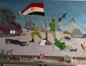 طلاب مدرسة إعدادى بدمياط يحولون الجدران لملحمة وطنية استعدادا لذكرى أكتوبر
