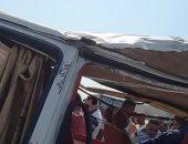 سيارة نقل تدهس ملاكي وإصابة قائدها فى الصف بالجيزة