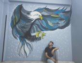 طارق من الغربية يشارك اليوم السابع موهبته بالرسم على الجدران