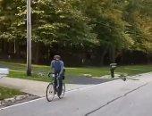 سباق بين راكب دراجة وطائر صغير فى طرقات ولاية أوهايو بأمريكا.. فيديو