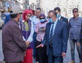 محافظ الإسكندرية يتفقد موقع الهبوط الأرضى بشارع 45 بعد الإصلاح .. صور